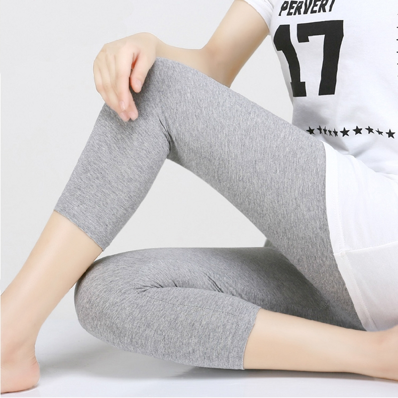 Summer Leggings Women Preppy Style 3/4 Mid-Calf Length Stretchy Leggings Cotton Knitted Elastic Waist Black Gray White B92891