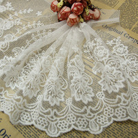 Buulqo 5 yardas/lot Vintage Flor Blanca de Encaje Bordado Apliques de Tela Cinta Jacquard Tela de Encaje Recorta Costura