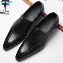 7QYFCIOUFU Pointed Toe Genuine Leather Shoes Men Stylish Slip-on Formal Shoes Fashion Italian Luxury Mens Dress Shoes Designer christia bella italian green genuine leather men shoes fashion pointed toe slip on men dress shoes party business formal shoes