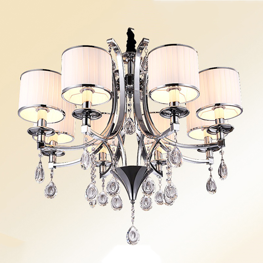 Modern Crystal Glass Chandeliers Lustre Lamp 3/6/8 Lamps Optional Lustres De LED Luxury Stainless Chandelier With Lampshade hghomeart creative cartoon chandeliers led crystal chandelier kids room luminarias wrought iron lamp lustre suspension
