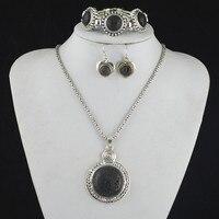 SS5 Lava Stone Ketting Hanger & Earring & Armband per Set Jewlery Set, vrouwen, Vintage Look, Tibet, groothandelaar