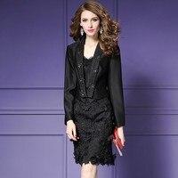 Fashion Black Womens Suit With Skirt Office Uniform Designs Women Slim Fit Printing Jacket Skirt Set Business Skirt Suits Female