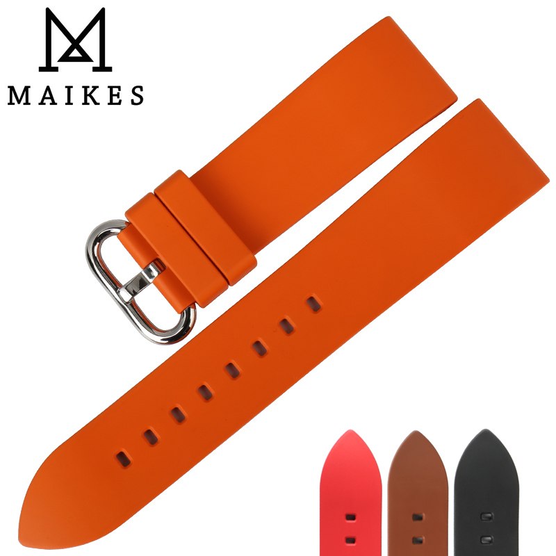 MAIKES 22mm 24mm fluororubber rubber watchbands orange sports smart watch band strap watch accessories bracelet belt maikes 18mm 20mm 22mm watch belt accessories watchbands black genuine leather band watch strap watches bracelet for longines