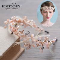 HIMSTORY Handmade Splendido Rilievo Di Cristallo Hairband Della Piuma Bridal Tiara Ornamenti Per Capelli Crown Prom Wedding Accessori Per Capelli