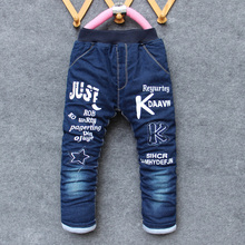 BibiCola baby boys jeans pants warm pants winter autumn Denim trousers for girls Casual outwear pants 5-10 years old