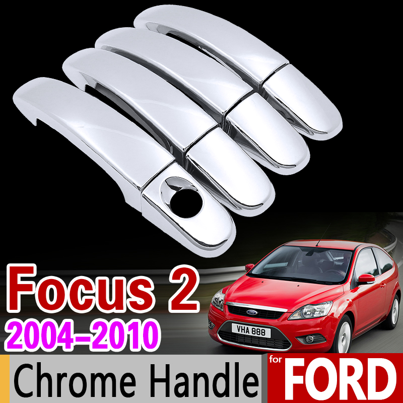 For Ford Focus 2 2004-2010 Chrome Handle Cover Trim Set MK2 MK2.5 2005 2006 2007 2008 2009 Car Accessories Stickers Car Styling for suzuki splash 2007 2014 chrome handle cover trim set of 4door 2008 2009 2010 2011 2012 2013 accessories sticker car styling