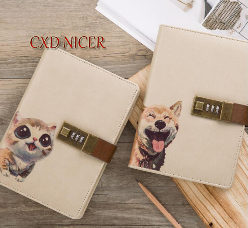 Multi Function Panda Dog Pu Leather Paper Notebook With Lock B6 Office Supplies Inner Page Notepad DD1980 футболка print bar the panda page 2