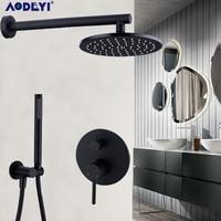 Латунный черный краны для ванной и душа 8 12 Дождь душевая головка ванная душ набор переключатель смеситель клапан Душевая система настенны