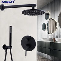 Brass Black Bath Shower Faucets 8 12 Rain Shower Head Bathroom Shower Set Diverter Mixer Valve Shower System Wall Mounted