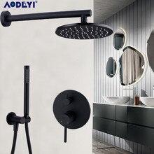 Ensemble de robinets de bain douche, noirs en laiton, avec pomme de pluie, système de mitigeur avec inverseur, monté au mur, 8 à 12 pouces