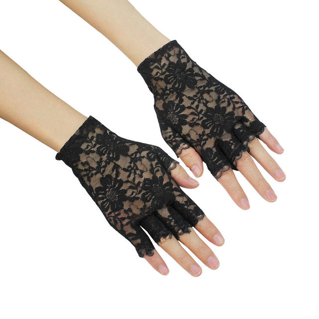 294f20321 Pretty Elegant Girls Ladies Sexy Black Lace Party Costume Gloves Finger  Fingerless Stylish Exquisite