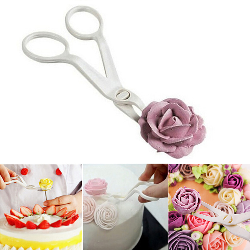 1 PC Plastic Scissor <font><b>Flower</b></font> Fondant <font><b>Decorating</b></font> <font><b>Cake</b></font> <font><b>Tool</b></font> <font><b>Flower</b></font> Lifter <font><b>Cake</b></font> Edge Scissor Clip Cream Transfer Confectionery <font><b>Tools</b></font> image