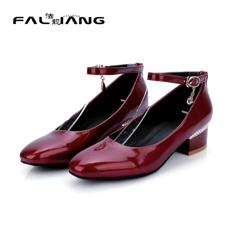 ФОТО Fashion 2017 New Arrivals Chunky Heel Gladiator Ankle Straps Mary Jane Pumps square toe Autumn Spring Pumps Casual Shoes woman