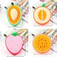 Fruit Section of Thicker Sponge Scouring Strong Decontamination Wash Cloth Washing Towels Rags Non Stick Oil Cleaning E