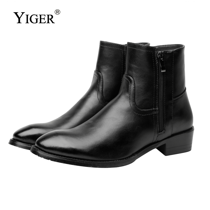 YIGER NEW 2018 Man Martins Boots Genuine Leather With Fur Black Men Boots Pointed Toe Motorcycle Boots Warm Shoes   0152