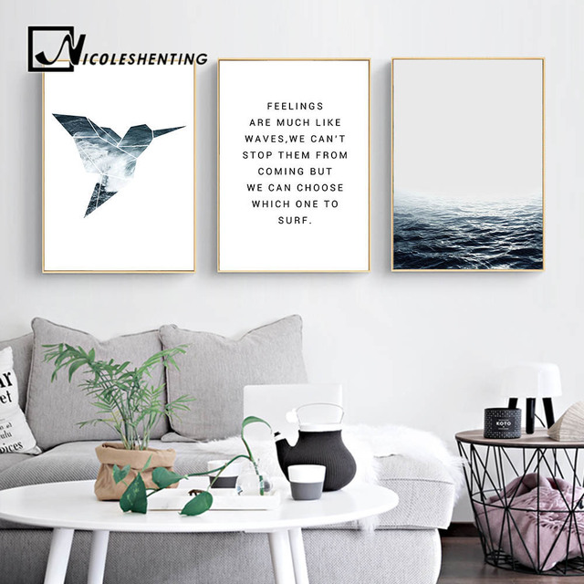 Tropical Sea Bird Motivational Wall Art Canvas Nordic Posters Prints  Landscape Painting Wall Pictures For Living