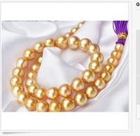 huge 13 12mm south sea round gold pearl necklace 18inch >Selling jewerly free shipping