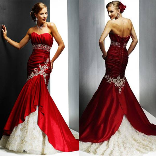 Red And White Lace Wedding Dress: Luxury Lace Appliqued Taffeta Mermaid Cheap Red And White