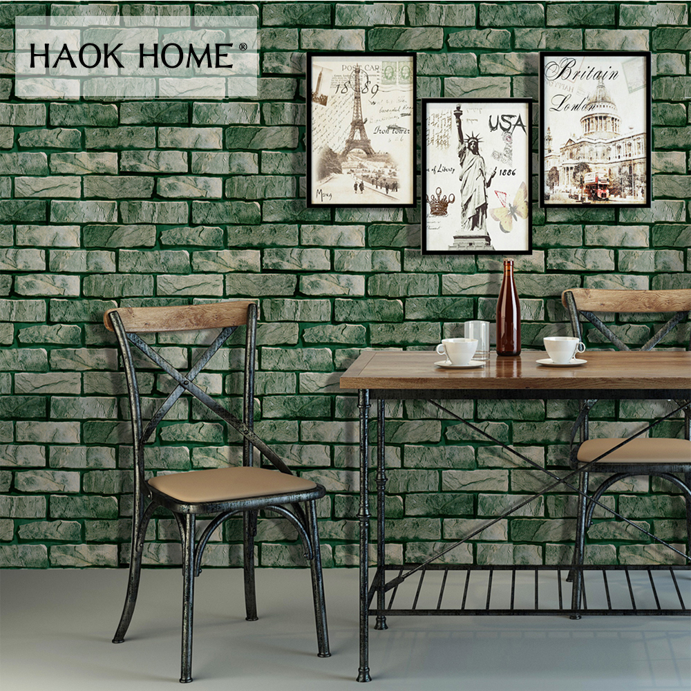 HaokHome Vintage Peel Stick Faux Brick Wallpaper For walls 3d Self Adhesive Sticker Green living room bedroom Home decoration free shipping marble texture parquet flooring 3d floor home decoration self adhesive mural baby room bedroom wallpaper mural