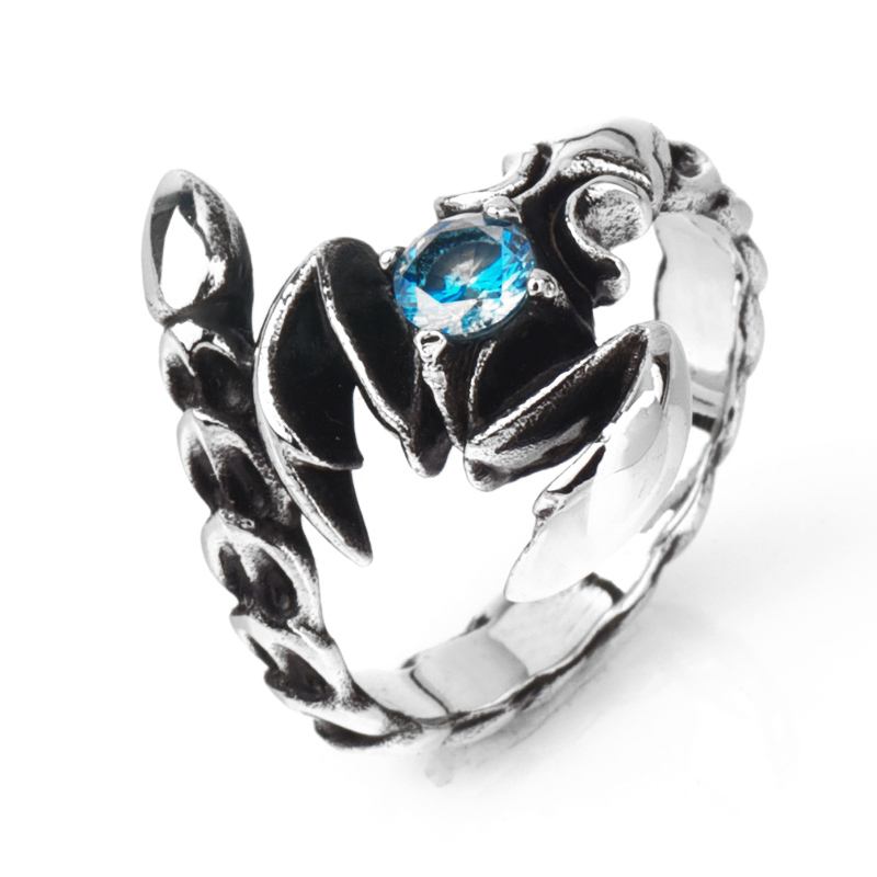 Fashion scorpion blue zircon stainless Steel ring Scorpio