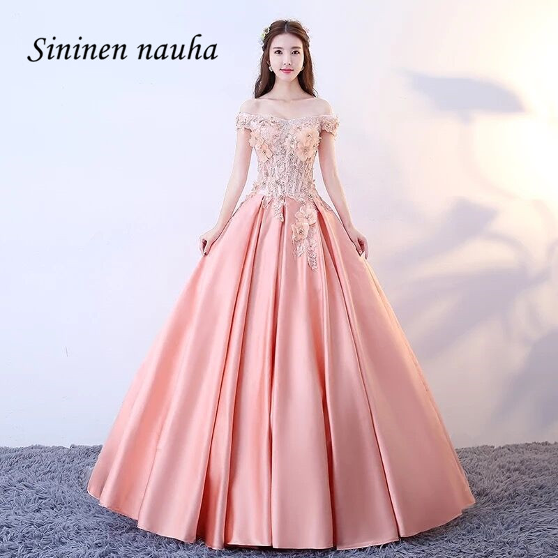 Long Evening Gowns For Wedding: Pink Quinceanera Dresses Long Prom Party Dress Off The