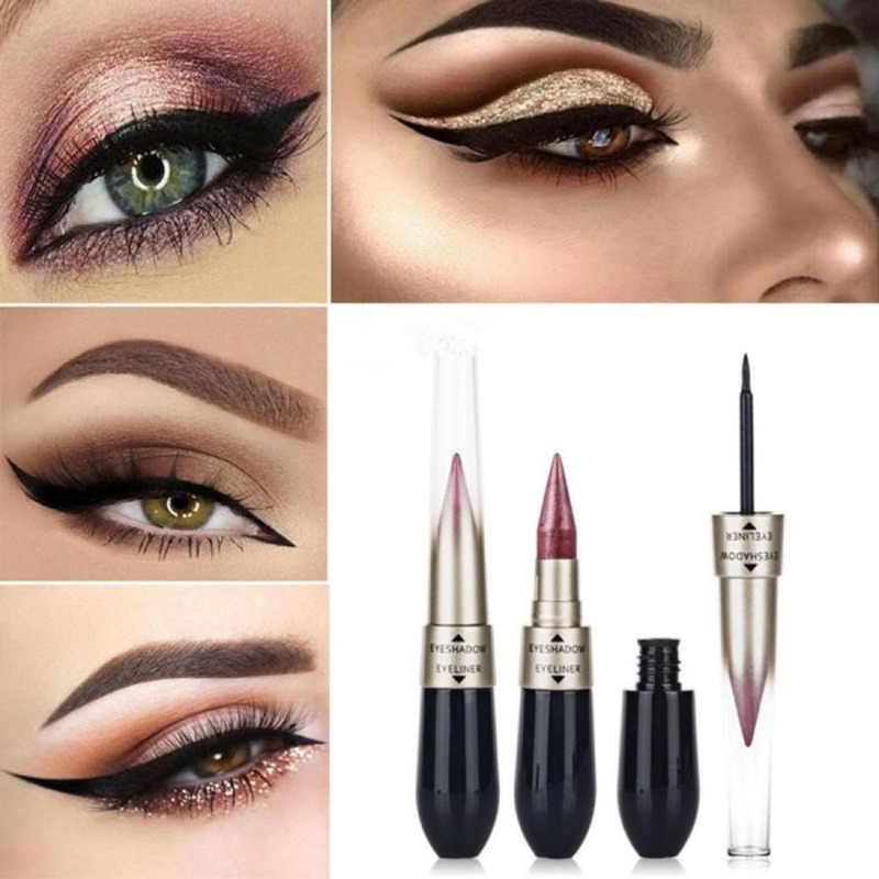 Nouveau maquillage pour les yeux Double extrémité 2 en 1 crayon à paupières liquide ombre à paupières imperméable scintillant longue durée Eyeliner stylo cosmétique TSLM1