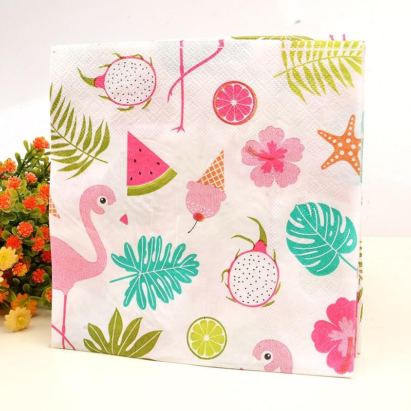 10pcs Paper Napkin Flamingo Rainforst Flower healthy napkin paper tissue kids birthday party Coffee shop glass decoration