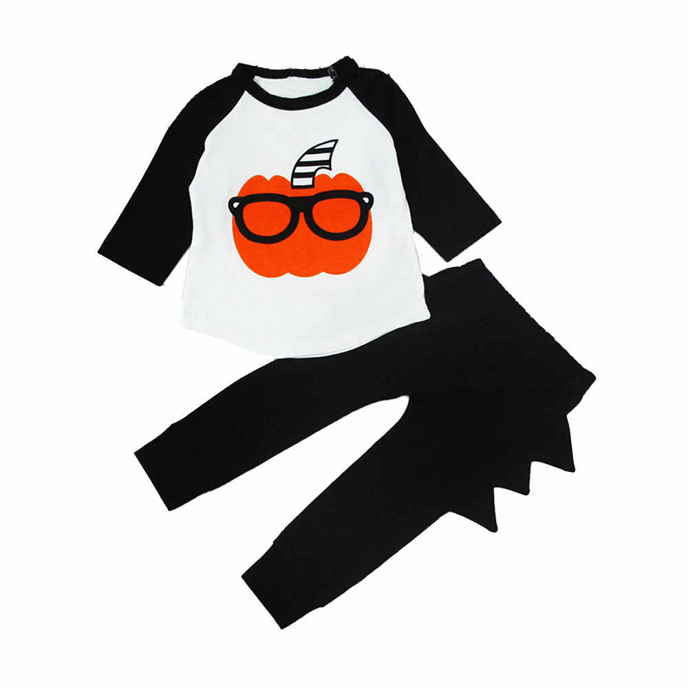 Pazarlık satış ve sıcak sunuyor ücretsiz kargo ile kabak baskı uzun kollu tişört dinozor pantolon cadılar bayramı bebek erkek giysileri takım elbise
