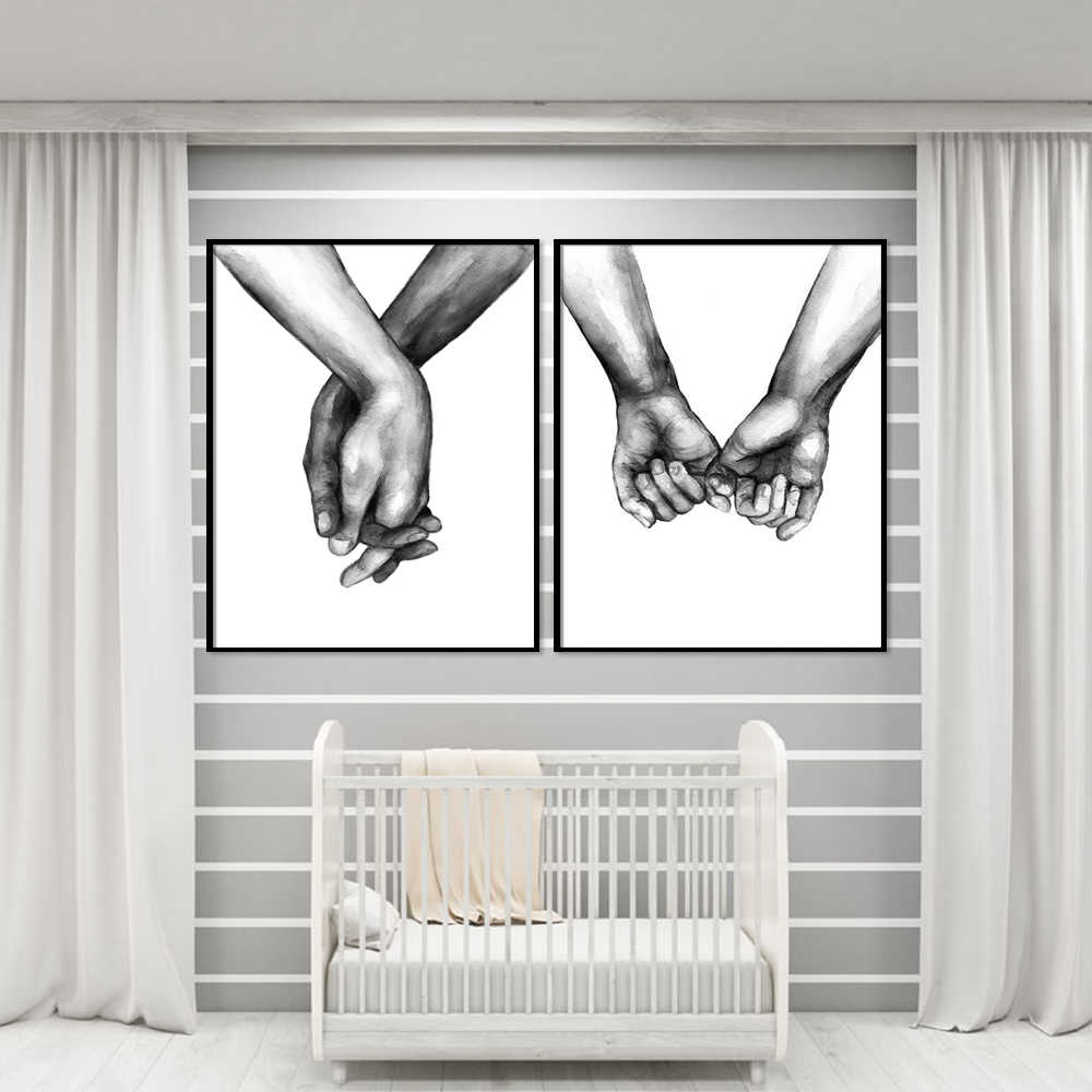 الشمال المشارك الأسود والأبيض القابضة الأيدي قماش الصور عاشق إقتباس جدار الفن ل غرفة المعيشة مجردة الحد الأدنى ديكور