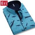 2017 New Fashion Men's Shirt Short Sleeve Brand Slim Fit Printed Pattern Cotton Mens Shirts Dress Social 4XL Formal Shirt X062