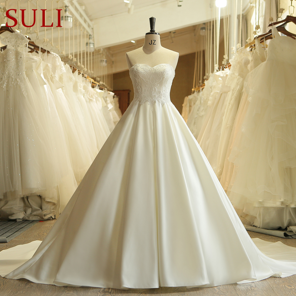 SL 501 Princess Simple Chapel Train Bridal Gowns Corset Embroidery Satin Wedding Dress 2018