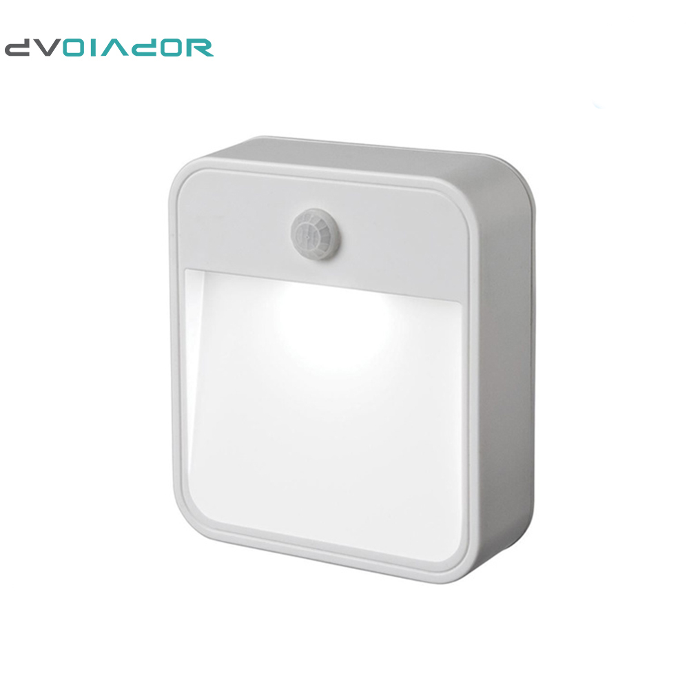 DVOLADOR Portable <font><b>LED</b></font> Wireless Motion <font><b>Sensor</b></font> Night Lights Baby 1 <font><b>LED</b></font> Battery Powered Lamp for Hallway Pathway <font><b>WC</b></font> Night Light