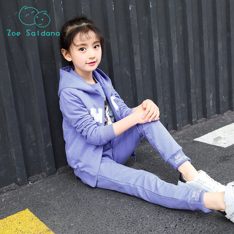 Zoe Saldana Spring 2018 Coat+Hoodie+Pants 3ps Cotton Cartoon Letter Girls Clothes Set Print Girls Clothing Fashion Sports Suit