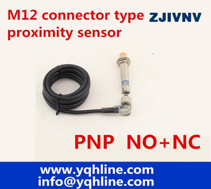 New!! M12 connector type proximity inductive sensor PNP NO+NC proximity switch DC 4 wires, angle plug with led indicator dhl ems 5 sests new turck proximity switch ni4 m12 rz3x