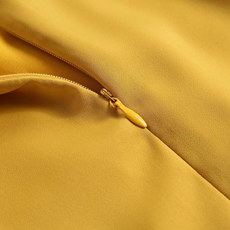 Amélioré Nouveau Le Jaune Style Couture Dentelle A Chinois Sept Robe Broderie Cheongsam Automne Points qpwazHp