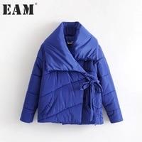 EAM 2017 Winter New Pattern Fashion Asymmetry Big Lapel Chalaza Cotton Padded Loose Keep Warm