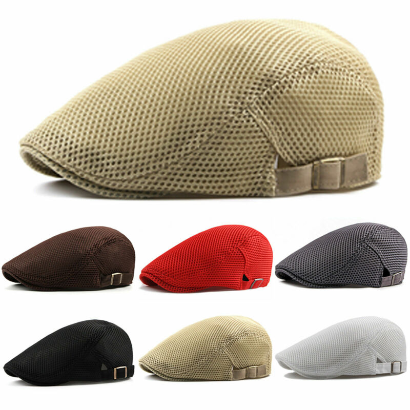 Hirigin 2019 New Summer Men Newsboy  Gatsby Cap Hat Mesh  Golf Driving Sun Flat Beret