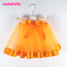 orange Baby Girls Tutu Skirts Princess pettiskirt ballet dance tutu skirt Kids party miniskirt wedding Chlidren clothing Vestido(China)
