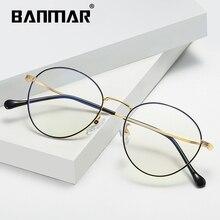 BANMAR Fashion Blue Light Glasses Retro Metal Frame Anti Blue Ray Computer Glasses Vintage Round Glasses Frame Eyewear 1904 retro blue