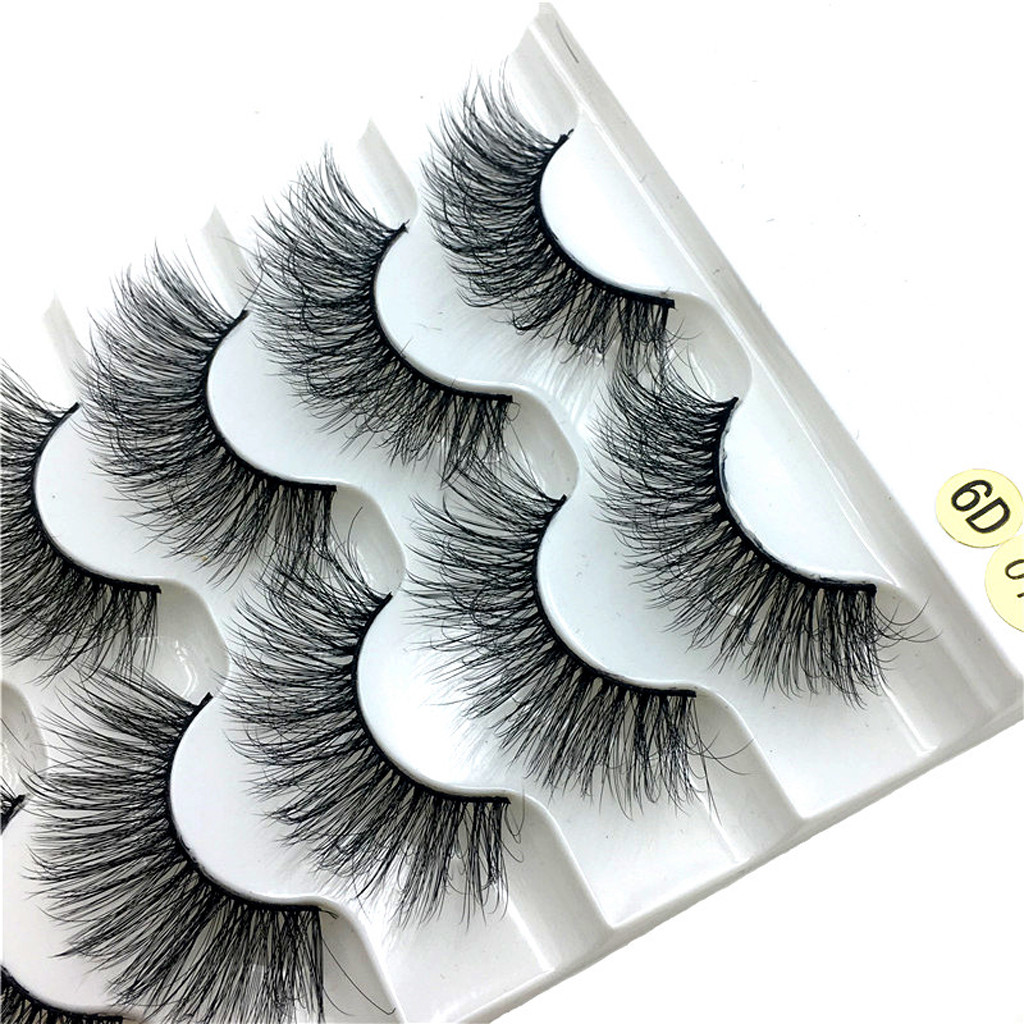 New Luxury 5Pair 6D Hair False Eyelashes Natural Messy Eyelash Crisscross Wispy Fluffy Lashes Extension Eye Makeup Tools