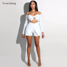 Trancilong Sexy Tube Top Strapless Tight Button Short Jumpsuit Summer Straps Bow Ladies Overalls Nightclub Suit