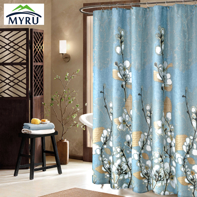 New blue flower shower curtain waterproof unique bathroom curtain ...