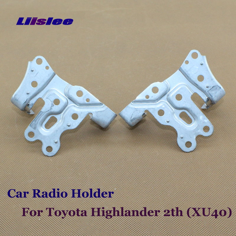 Car Radio Holder For Toyota Highlander 2th (XU40) 2007~2013 / CD DVD Player Support Head Unit Metal Prop Stand Pair with Screws