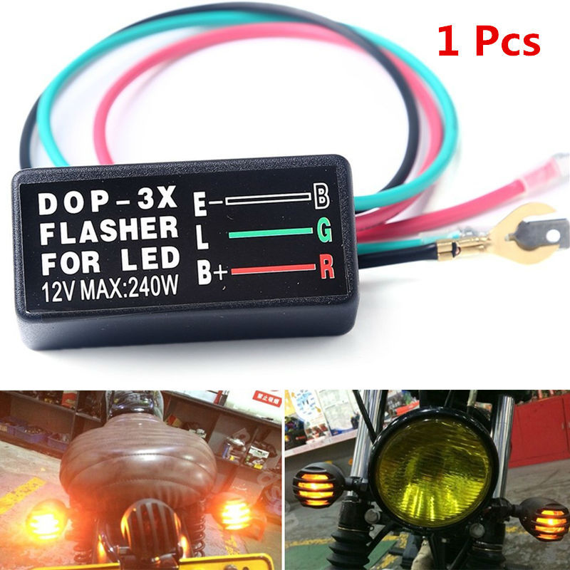 1PCS Automotive Motorcycle Universal LED Lights Relay Turn Signal Flasher DC 12V 3-pin Beach Motorcycle Light LED Light