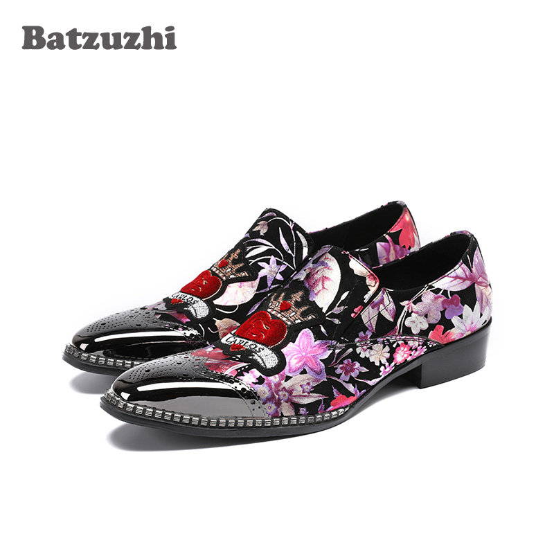 Batzuzhi 2018 New Handmade Men Shoes Silver Metal Tip Black Suede Print With Flowers Rock Mens Dress Shoes Party Runwawy 38-46 Good Reputation Over The World Shoes