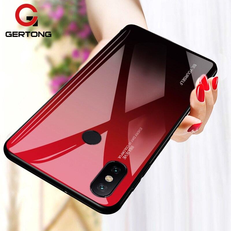 Para xiao mi nota vermelha 5 6 7 pro 6a caso gradiente de vidro temperado capa para xiao mi 8 a2 lite a1 9 mi 6 mi 9 caso pocofone f1