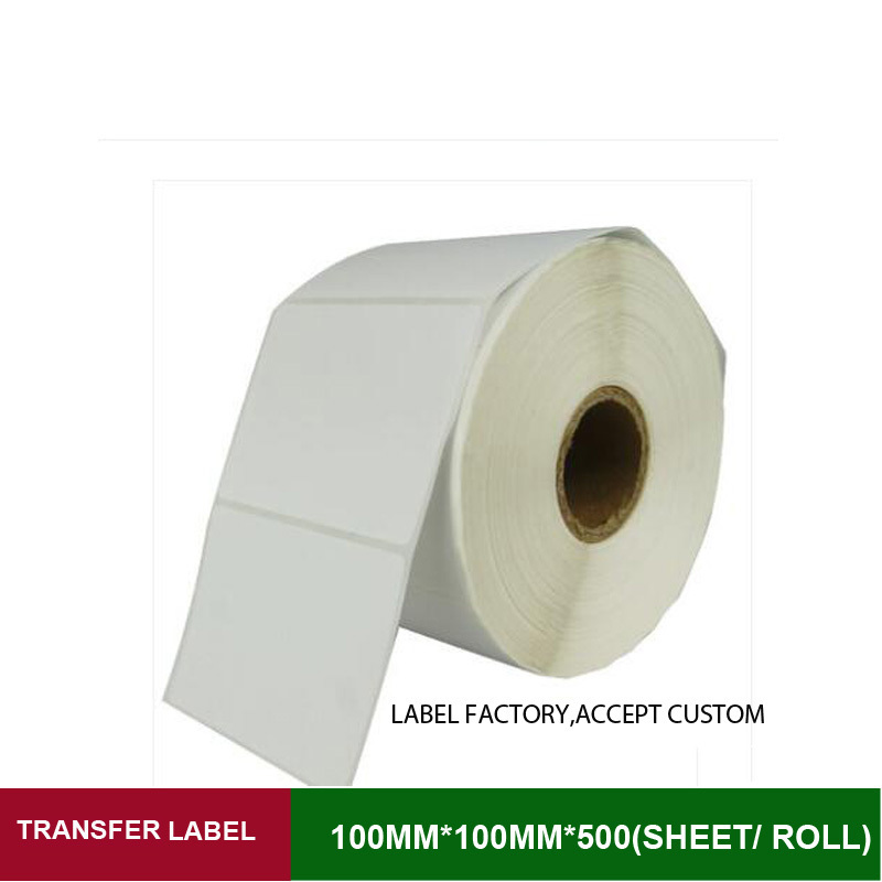 Blank adhesive sticker label thermal transfer shipping label paper 100mm*100mm 500pcs per roll use on ribbon printer