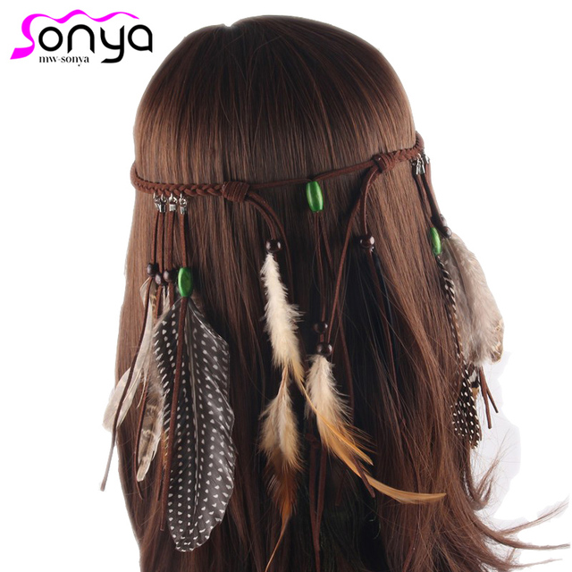 Mwsonya Native American Indian Feather Headband Festival Headdress Hair Accessories Women Hairwear 4i3013