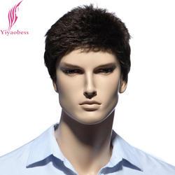 Yiyaobess 6 дюймов темно-коричневые короткие Для мужчин S парик для белых Для мужчин Термостойкие синтетического природного Искусственные