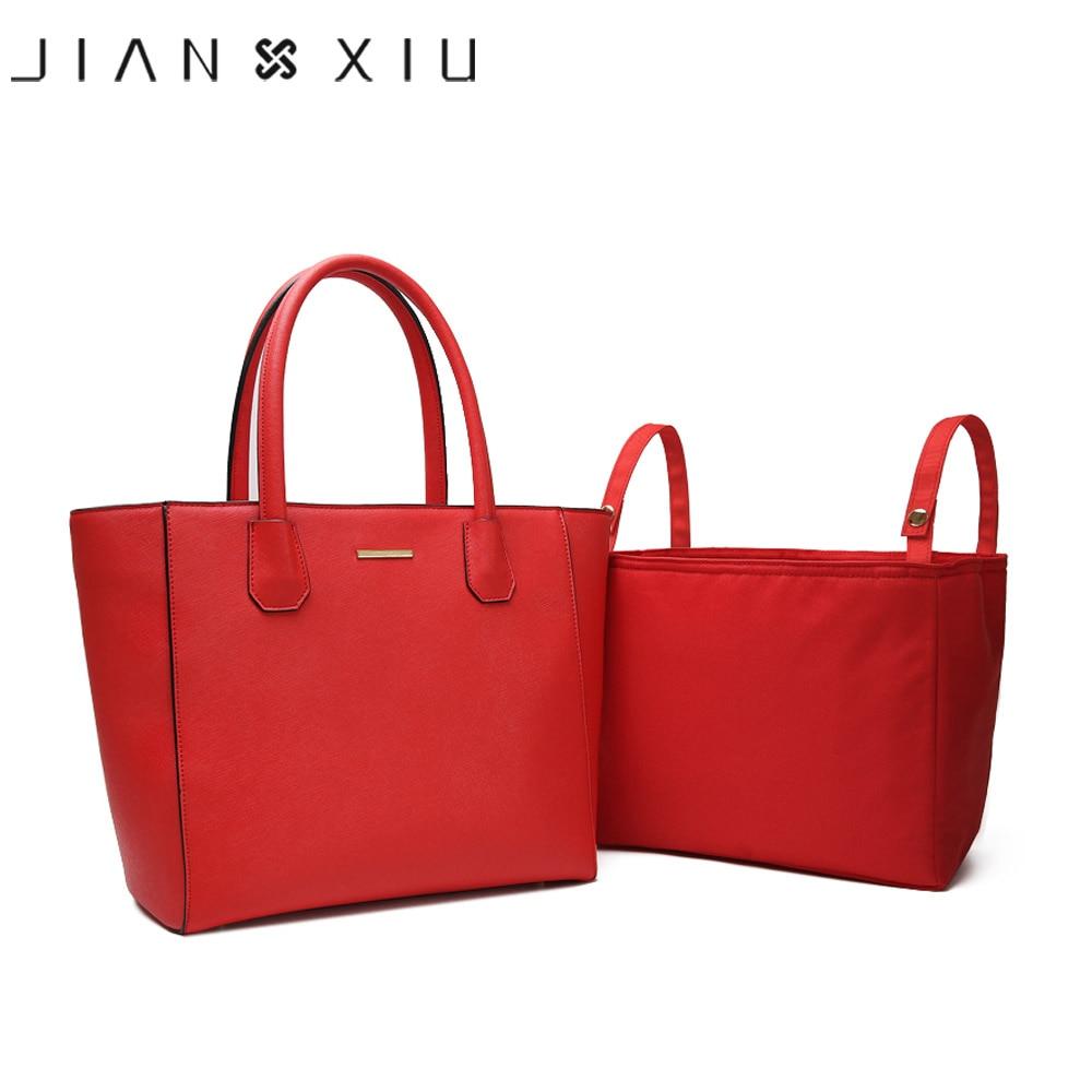 JIANXIU Genuine Leather Handbag Cross Texture Luxury Handbags Women Shoulder Bags Multi-fFunction Large Capacity Mummy Tote Bag